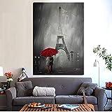zhuziji DIY Dipingere con i Numeri Ombrello Rosso Romantico Parigi Città Torre Eiffel HD in affresco Soggiorno divano40x50cm(Nessuna Cornice)