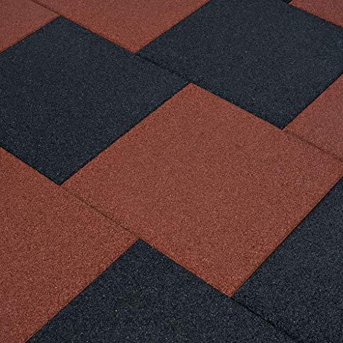 vidaXL 6x Fallschutzmatten Gummi Rot Fallschutzplatten Bodenmatten Spielplatz - 6