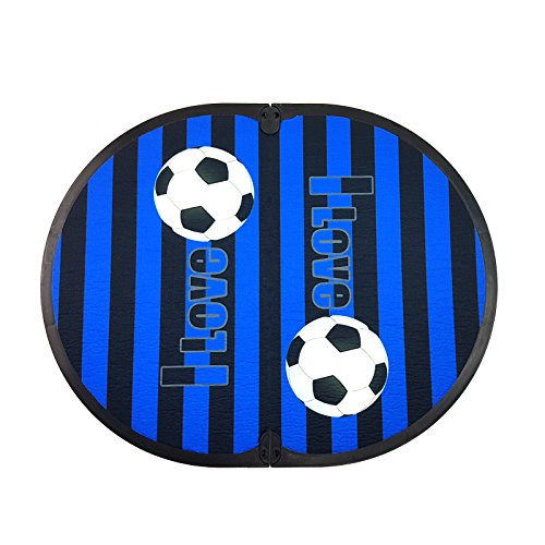 Fit Feet Soccer Mania - Tappetino poggiapiedi spogliatoio Fuori Doccia - a Tema Club Sportivo (Nero Azzurro)