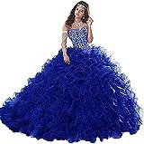 Snow Lotus Vestido de fiesta con cuentas de novia para mujer, vestido de fiesta con volantes, vestido de quinceañera de princesa
