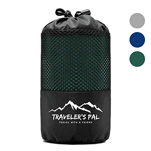 Traveler's Pal Hüttenschlafsack aus 100% Baumwolle - Schlafsack mit Reißverschluss an Seite und Fußende - Leichter und dünner Inlett Sommerschlafsack atmungsaktiv und hautfreundlich Patinagrün