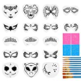 31 Pieces Face Stencils Kit, 17 Reusable Large Face Paint Stencils, 4 Small Stick Paint Stencils and 10 Pieces Painting Brushes for Kids Face Painting, Tattoo Stencils, Holiday Halloween Makeup