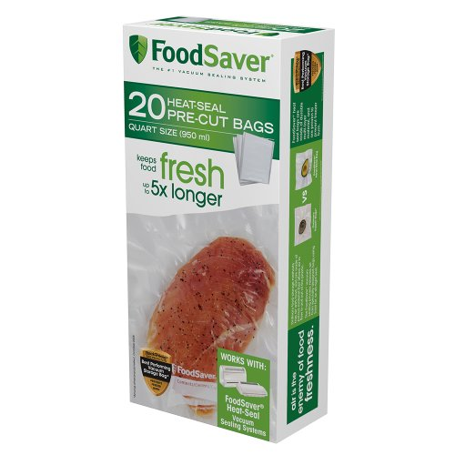 FoodSaver 1-Quart Precut Vacuum Seal Bags with BPA-Free Multilayer Construction for Food Preservation, 20 Count