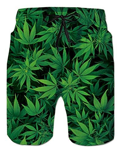 Men's Quick Dry Swimming Trunks for Adult Bro Unique Weeds Patterns Design Bathing Suit Gay Knee Length Board Shorts with Mesh Lining Green Leafs Hawaiian Beach Sports Swimtrunks, Marijuana XXL
