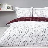 Sleepdown Juego de Funda de edredón Reversible con diseño de Lunares, Color Blanco y Vino, fácil de cuidar, con Funda de Almohada, 135 cm x 200 cm, Mezcla de algodón