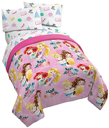 Jay Franco Disney Princess Sassy 5 Piece Full Bed Set - Includes Comforter & Sheet Set - Super Soft Fade Resistant Polyester - (Official Disney Product)
