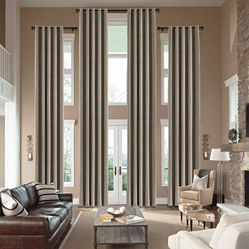 cololeaf Velvet Loft Curtains 204 Inches Long - Panel Beautiful, Elegant, Light Bloacking and Durable Window Drpaes Grommet Top Hall Velvet Curtains - Taupe 50W x 204L Inch (1 Panel)
