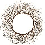 Whonline 18 Inches Pip Berry Wreath Off White Winter All Season Wreath for Festival Celebration Front Door Wall Window Home Decor