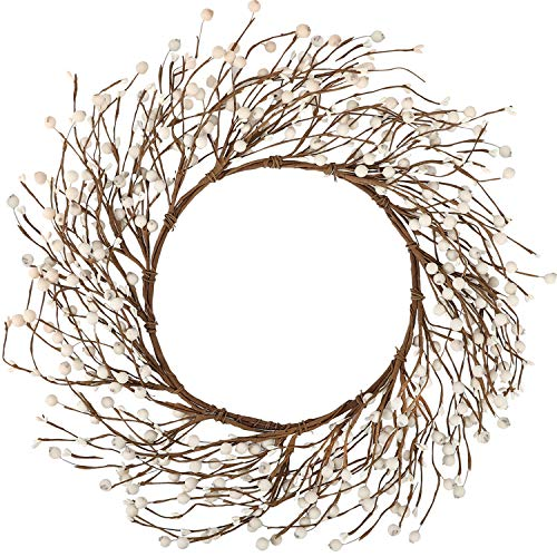 Whonline 18 Inches Pip Berry Wreath Off White Winter Wreath for Festival Celebration Front Door Wall Window Home Decor