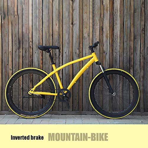 ZGYQGOO Mountain Bike per Adulti, Bici da Corsa su Strada, Bici per Bambini Antiscivolo a velocità Singola per Studenti, con Doppio Freno a Disco e Ruote da 26 Pollici Multicolori opzionali