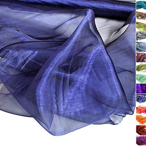 TOLKO® Meterware | Organza Deko-Stoff Transparent mit Farbwechsel zum Nähen - Dezent Glänzend und Hauch Zart (Nachtblau)