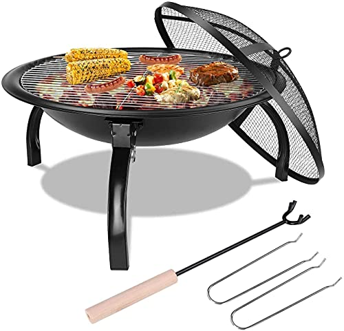 Fire Bowl with Grill Grate & Protective Grille, 54x54x43cm, Multifunctional Fire Pit for Heating/BBQ, Garden Patio Fire Pit, Foldable & Portable Fire Basket & Grill, for Camping Picnic Garden