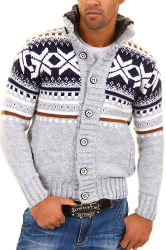 CARISMA Strickjacke Norweger Pullover 7011 [Grau, 3XL]