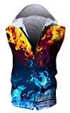 HOP FASHION Women's Sleeveless Print Zipper Hoodies Small Hopm115-15