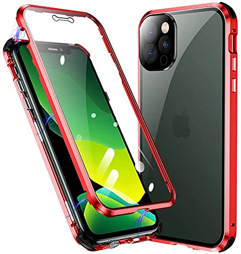 Case for iPhone 13 Pro Max Magnetic Adsorption Case Metal Frame Tempered Glass Back with Built-in Magnet Cover for Apple for iPhone 13 Pro Max Red