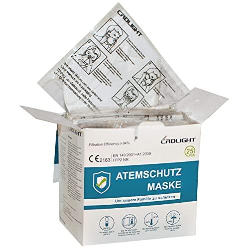 25 FFP2 Masken CE Zertifiziert Atemschutzmaske Einzelverpackung in PE-Beuteln - 2