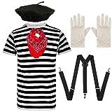 Angies Fashion® - Conjunto completo de disfraz de artista francés, camiseta a rayas, sombrero de boina, bufanda de cachemira roja, tirantes y guantes