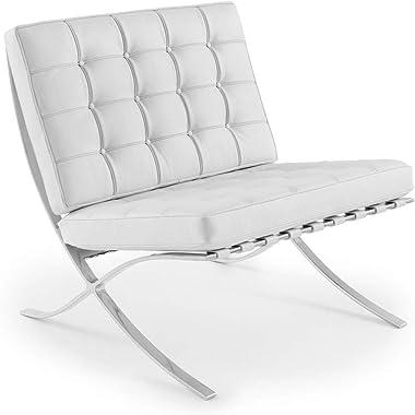 ARTIS DÉCOR Premium Lounge Chair - Premium Quality Imported Aniline Italian Leather - Seamless Corners - Fully Leather Cushio
