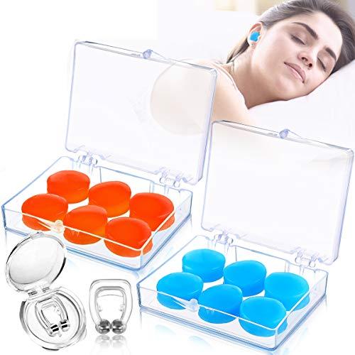 JOYXEON Silikon OhrstöPsel Schwimmen 6 Paar Wasserdichte OhrstöPsel Schlafen Mit Hoch Dezibel LäRmschut, 2 Schnarchstopper mit Magnet Waschbar & Wiederverwendbar