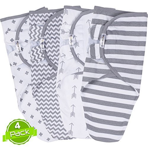 Swaddle Blanket Adjustable Infant Baby Wrap Set of 4 Baby Swaddling Wrap Blankets Made in Soft Cotton by BaeBae Goods …