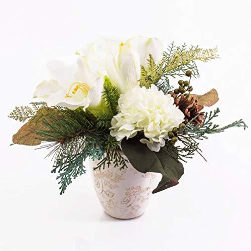 artplants.de Künstliches Amaryllis Hortensien Arrangement im Keramiktopf, weiß, 30cm - Weihnachts Deko - Kunst Ritterstern