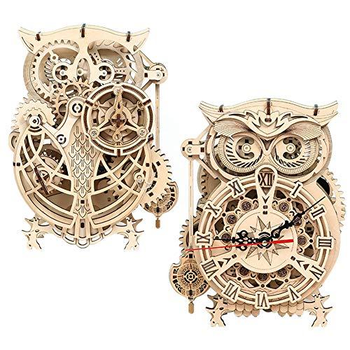 Maqueta Madera Reloj, Reloj de Búho, Rompecabezas de Madera 3D para Adultos, Reloj de Escritorio, Decoración del hogar, Reloj Animal con Temporizador, Movimiento de Cuarzo Adultos y Niños