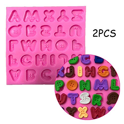 2PCS Candy Molds & Ice Cube Trays Fondant Mould, 26 Capital Letters Silicone Fondant Mould Chocolate Mold Use for Soft Candy Cakes, Ice Cream, Tarts, Muffins, Candles, Soaps, Jello, Mousses
