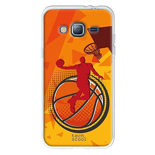 Funnytech Funda Silicona para Samsung Galaxy J3 2016 [Gel Silicona Flexible, Diseño Exclusivo] Mate Baloncesto