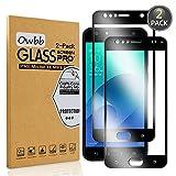 Owbb [2 Pezzi] Nero Vetro Temperato Pellicola per ASUS Zenfone 4 Selfie ZD553KL Smartphone Full Coverage Protettiva Protezione 9H Durezza 99% Alta Trasparente
