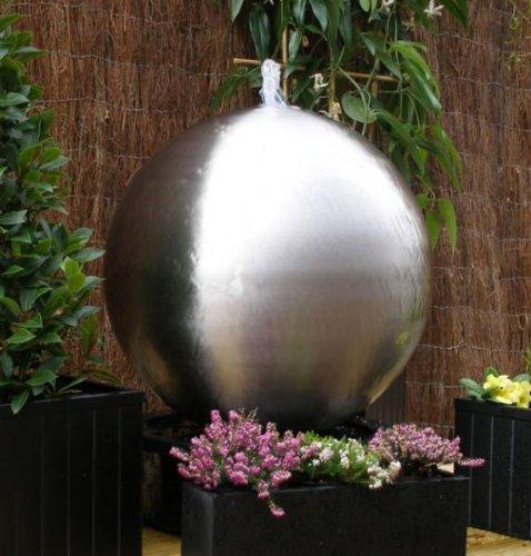 50cm Kugelbrunnen Gartenbrunnen aus poliertem Edelstahl mit LEDs