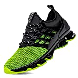 SKDOIUL Green Black Sneakers Casual Athletic Shoes for Men Sport Running Shoes for Mens Mesh Breathable Trail Runners Fashion Sneakers Green Size 7.5 (8066-green-41)
