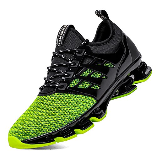 SKDOIUL Sport Running Shoes for Mens Mesh Breathable Trail Runners Fashion Sneakers (8066-green-46)