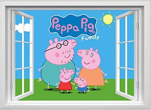 Peppa Pig, Pegatinas de Pared de Peppa Pig para Pared Familiar, murales de Peppa Pig, para Dormitorio, niños, niñas, Pegatinas de Pared
