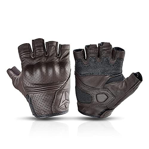 Guantes de Carreras Guantes de Motocicleta de Verano Guante de Motocross de Cuero sin Dedos Guantes de Motocicleta de Medio Dedo Equipo de protección de Ciclismo Retro (Color : Brown, Size : M)