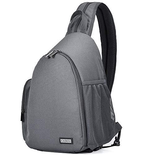CADeN Kamerarucksack Fotorucksack Wasserabweisend Sling Schultertasche Case Bag Kompatibel mit Spiegelreflex kameras 1 DSLR SLR 3 Objektiv Sony Canon Nikon Stativ(Grau)