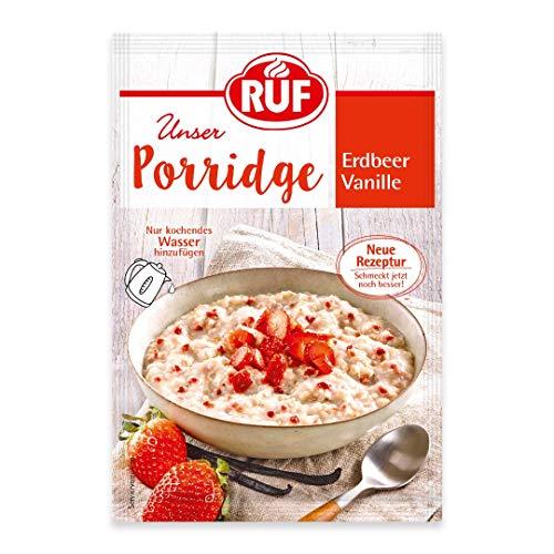 RUF Porridge Erdbeer Vanille mit Vollkorn-Haferflocken, Erdbeerstückchen und Bourbon Vanille, 1 x 65 g