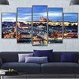 XLST Modular Segeltuch Gemälde 5 Stücke Übersehen Prag Landschaft Bilder Wandkunst Schloss Poster Wohnkultur Rahmen,40x60x240x80x240x100x1