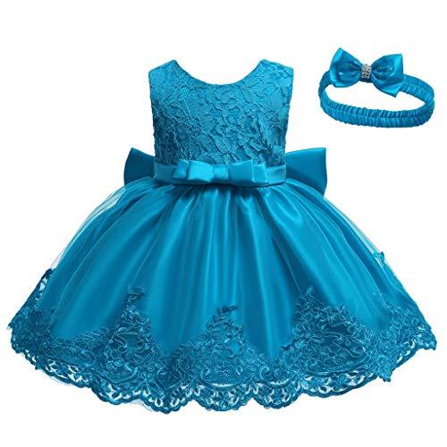INLLADDY Baby Mädchen Prinzessin Kleid 2tlg Set Bowknot Spitze Taufkleid Festlich Kleid Hochzeit Party Festzug Taufe Tutu Kleid 0-92 Jahre Himmelblau 3-6Monate