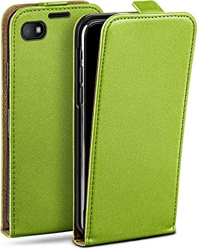 moex Flip Hülle für BlackBerry Z30 Hülle klappbar, 360 Grad R&um Komplett-Schutz, Klapphülle aus Vegan Leder, Handytasche mit vertikaler Klappe, magnetisch - Grün