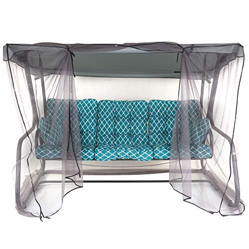 PATIO 3-Sitzer Hollywoodschaukel Celebes Plus Gartenschaukel Sitzpolster Seiitenkissen Sonnendach Moskitonetz Klappbar Liegefunktion 170 cm