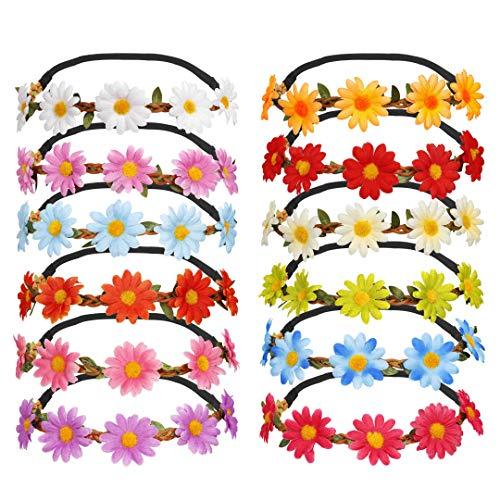 Diadema de Flores 12 Piezas Multicolor Diadema de Flores de Margarita con Cinta Elástica Ajustable para Mujeres Niñas Fiesta Playa