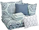AmazonBasics 10-Piece Comforter Bedding Set, King, Sea Foam Medallion, Microfiber, Ultra-Soft