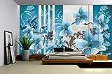 Fotomurale Foto Wallpaper Carta da parati Poster immagine Fiori orchidee ornamenti 1205, sfondo blu (carta), 254 cm (largo) x 184 cm (alto)
