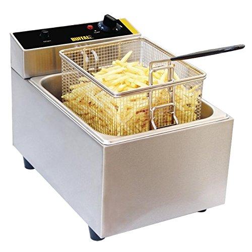 Buffalo - Freidora individual de 5 litros (300 x 270 x 400 mm), modelo comercial de cocina de catering eléctrica
