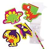 Baker Ross AX609 Bloc Notes Dinosauri - Confezione Da 12, Blocchi Da Disegno Per Bambini, Ideali Per Borse Da Festa