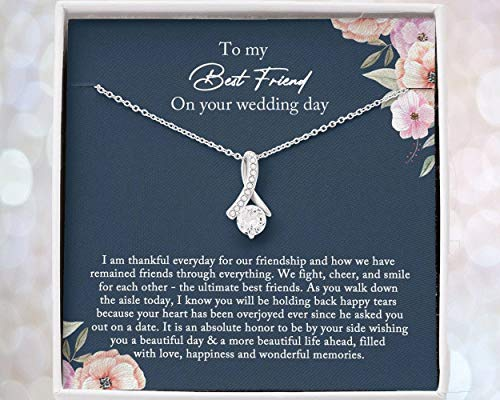 Best Friend Gift to Bride, Bride Gift From Maid of Honor, Best Friend Gift on Her Wedding Day, Best Friend to Bride Necklace | Mt4lj-979