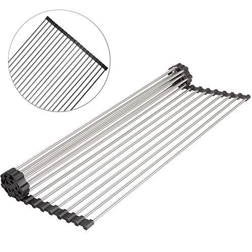 Estante multiusos enrollable para secar platos sobre el fregadero de cocina, plegable y enrollable para un fácil almacenamiento, alfombrillas para fregadero de acero inoxidable (52 x 26 cm)