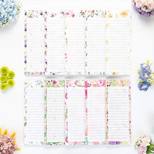 """Peach Tree Shade Magnetic Notepads, 10-Pack 60 Sheets Per Pad 3.5"""" x 9"""", for Fridge, Kitchen, Shopping, Grocery, To-Do List, Memo, Reminder, Note, Book, Stationery, (Floralnotes Hidden Paradise)"""