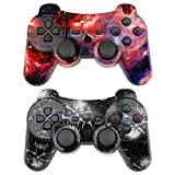 CHENGDAO Wireless Controller 2 Pack Compatible with Playstation 3 with High Performance Double Vibration and Charging Cable (Skull + Galaxy)