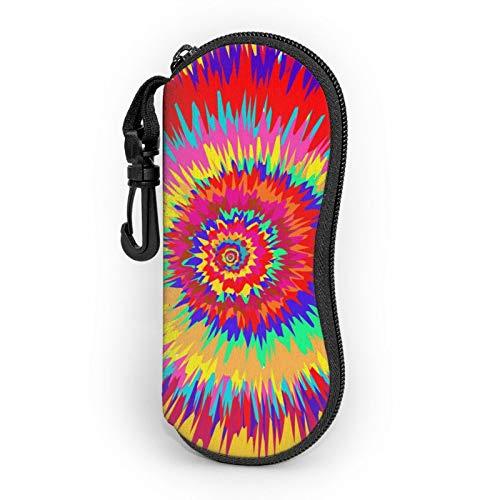 Gafas de sol caso caso de gafas con clip de cinturón colorido espiral abstracto Tie Dye Zip ultra ligero gafas bolsa